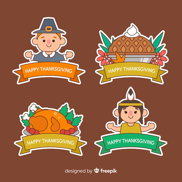 Varietà di collezione di badge del ringraziamento Vettore gratuito