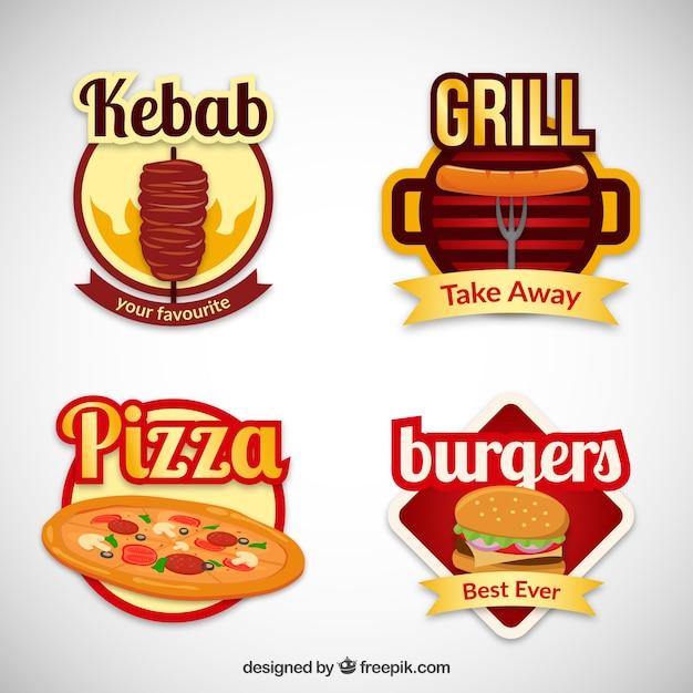 Varietà di distintivi fast food Vettore gratuito