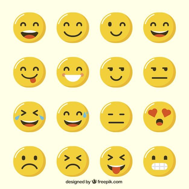 Varietà di divertente emoji in design piatto Vettore gratuito