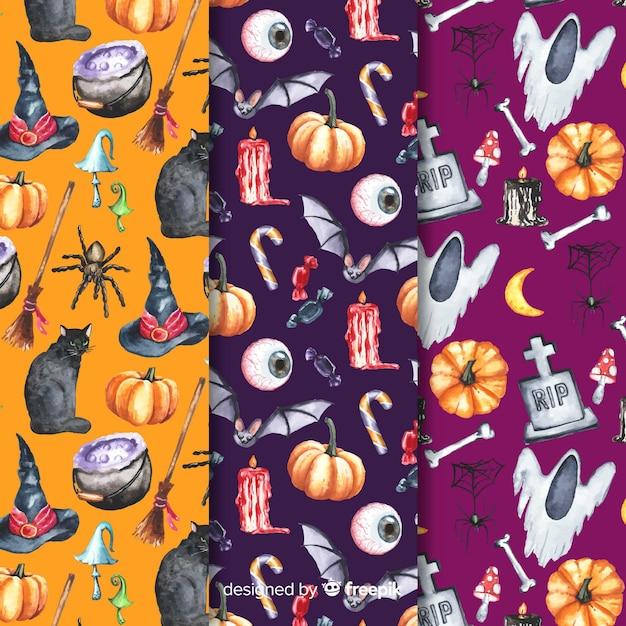 Varietà di elementi per la raccolta del modello di halloween Vettore gratuito