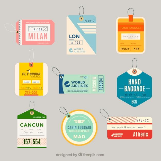Varietà di etichette per il bagaglio piatte in design piatto Vettore gratuito