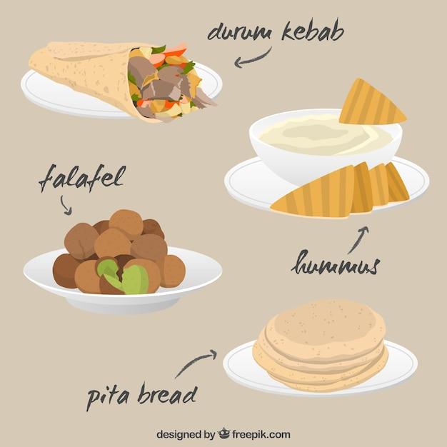 Varietà di gustosi piatti arabica Vettore gratuito