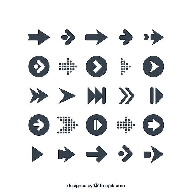 Varietà di icone frecce Vettore Premium