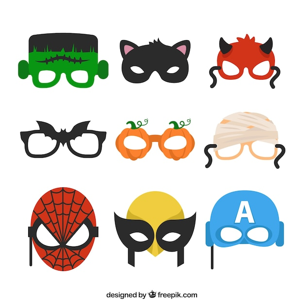 Varietà di maschere di halloween Vettore gratuito