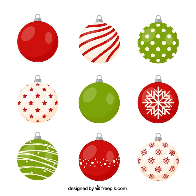 Disegni Di Palline Di Natale.Varieta Di Palle Di Natale Con Disegni Piacevoli Scaricare Vettori
