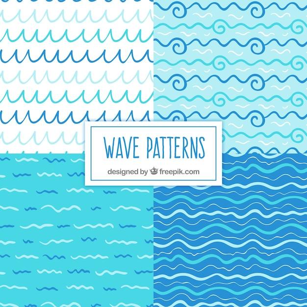 Varietà di pattern d'onda disegnati a mano Vettore gratuito