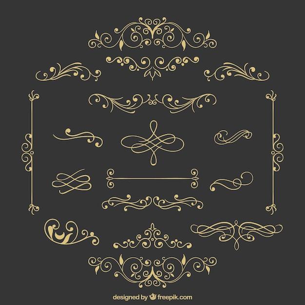 Varietà di retro ornamenti Vettore gratuito