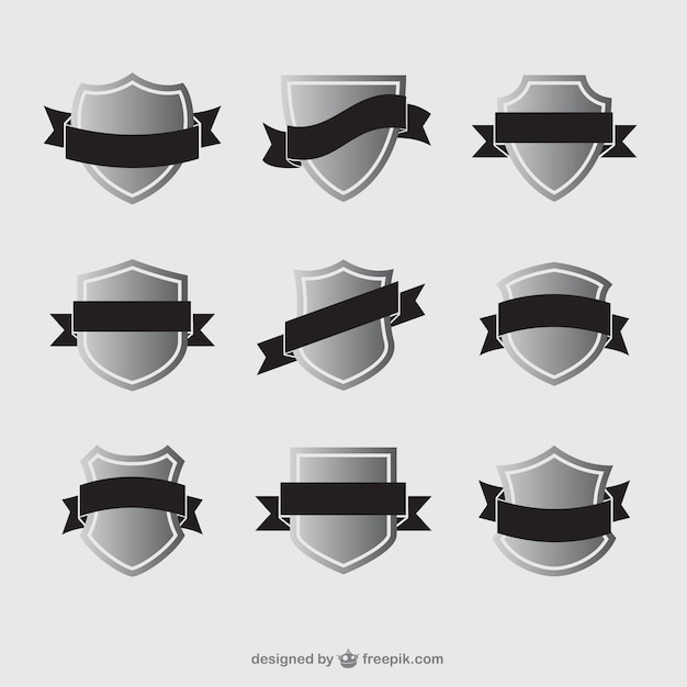 Varietà di scudi con nastri Vettore gratuito