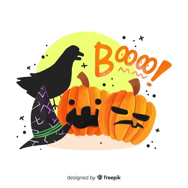 Varietà di sfondo raccapricciante degli elementi di halloween Vettore gratuito