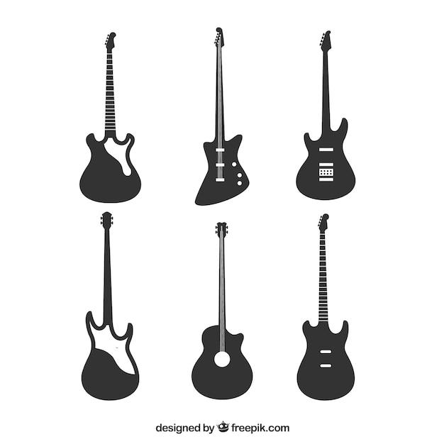 Varietà di silhouette di chitarra basso Vettore gratuito