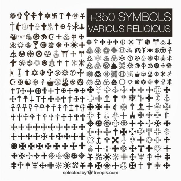 Varietà di simboli religiosi Vettore gratuito