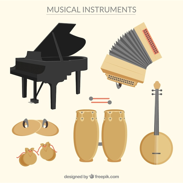 Varietà di strumenti musicali Vettore gratuito