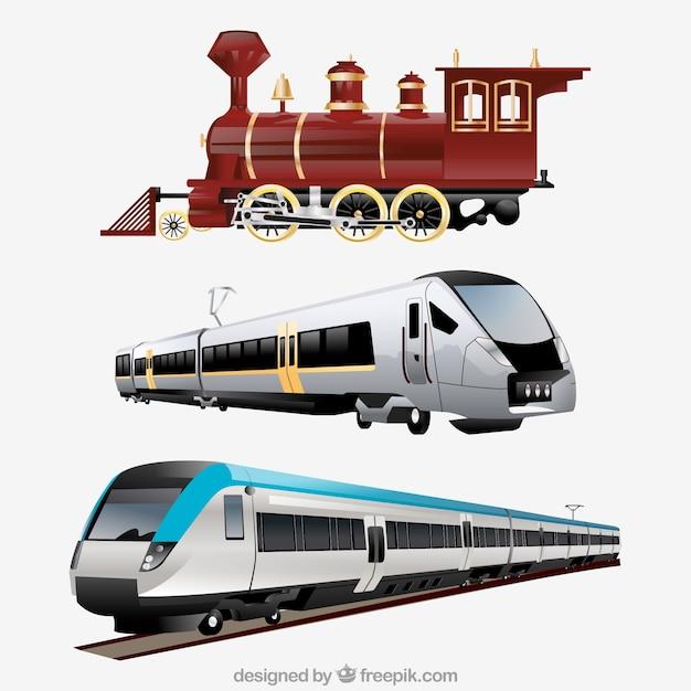 Varietà di treni realistici Vettore gratuito