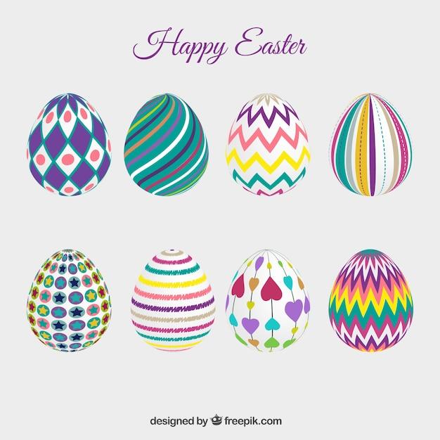 Variet di uova di pasqua decorate scaricare vettori gratis - Uova di pasqua decorate ...