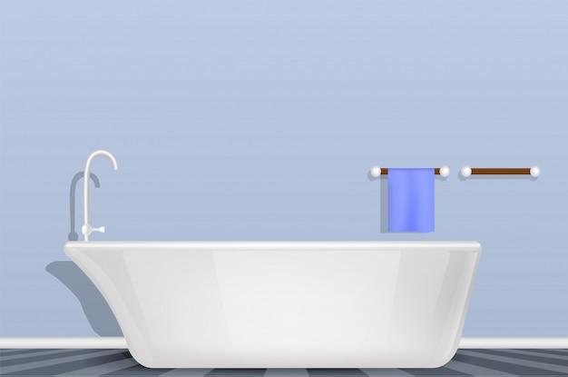 Vasca da bagno nel concetto del bagno, stile realistico Vettore Premium