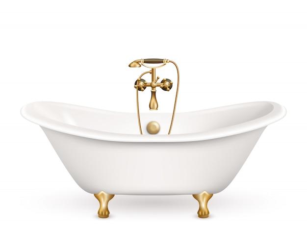 Vasca da bagno retro realistica Vettore gratuito
