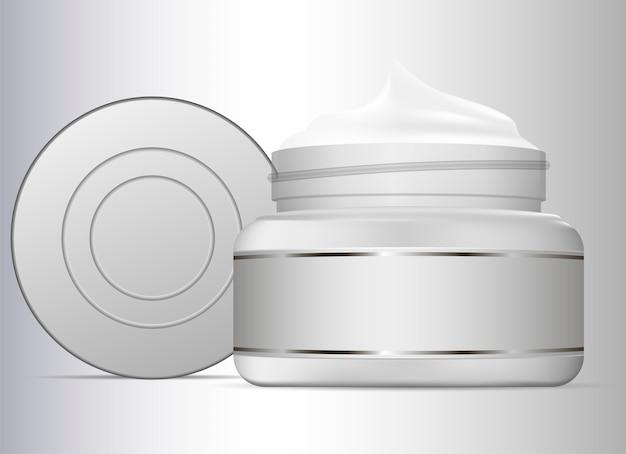 Vasetto di crema isolato su sfondo bianco Vettore Premium