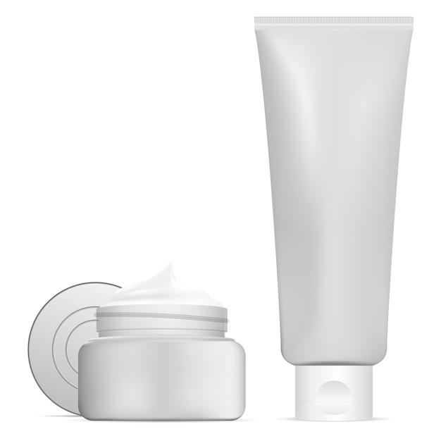 Vaso cosmetico, tubo per crema di bellezza. set di contenitori 3d Vettore Premium