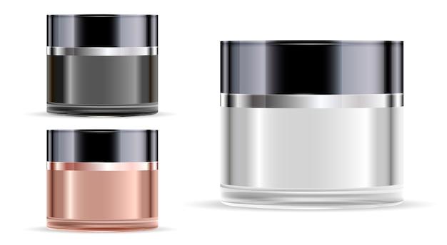 Vaso cosmetico vaso di vetro per crema. luxury mockup. Vettore Premium