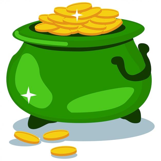 Vaso delle monete di oro su bianco Vettore Premium