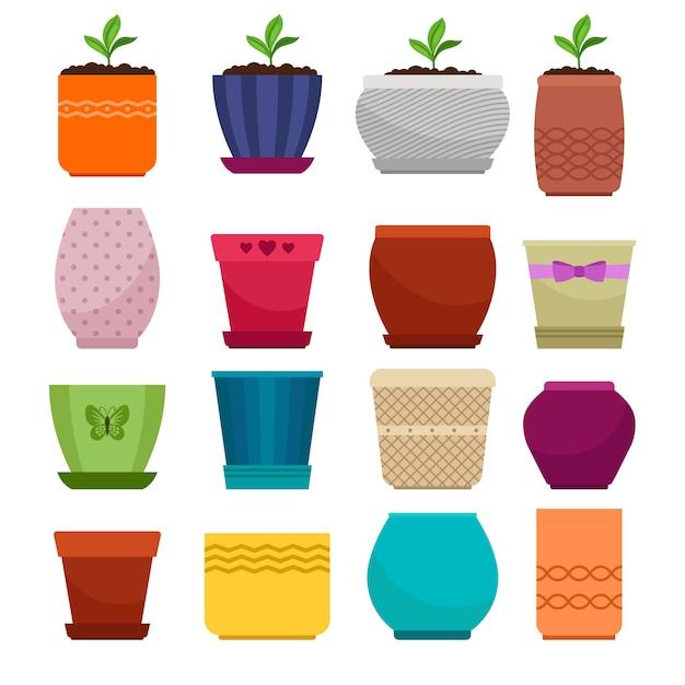 Vaso di fiori e collezione di vasi semplici etnici isolato su bianco Vettore Premium