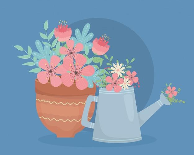 Vaso e irrigatore in ceramica con decorazione a fiori Vettore Premium