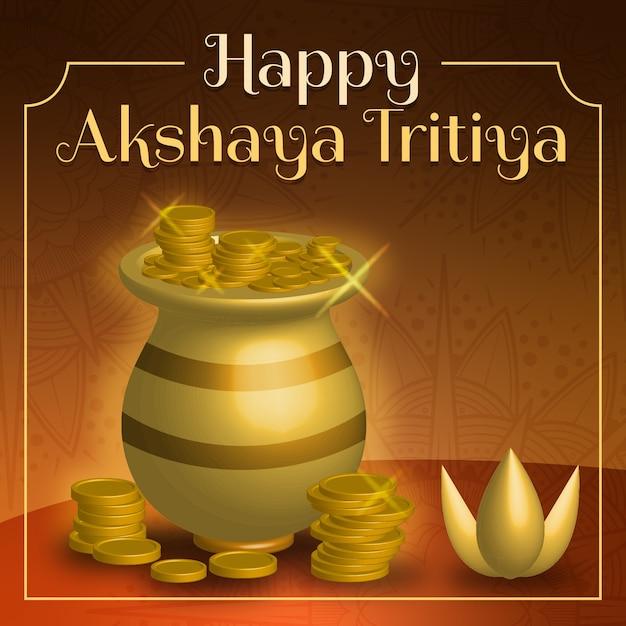 Vaso e monete felici di akshaya tritiya Vettore gratuito