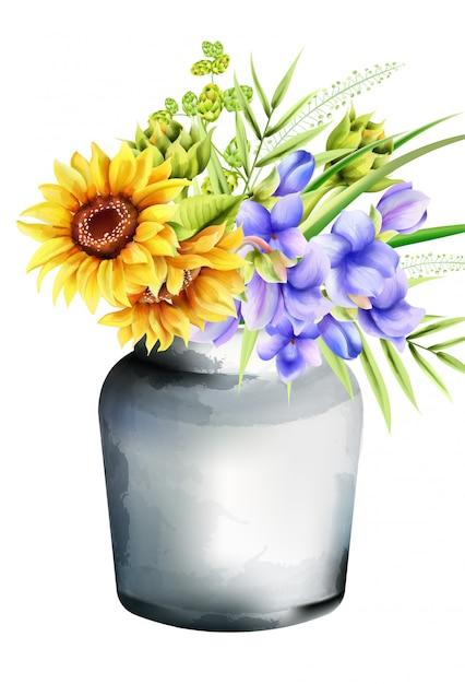 Vaso in ceramica ad acquerello con girasoli, gloria mattutina e carciofo, foglie verdi Vettore gratuito