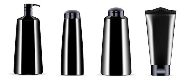 Vaso per bottiglia di cosmetici neri con tappi neri. Vettore Premium
