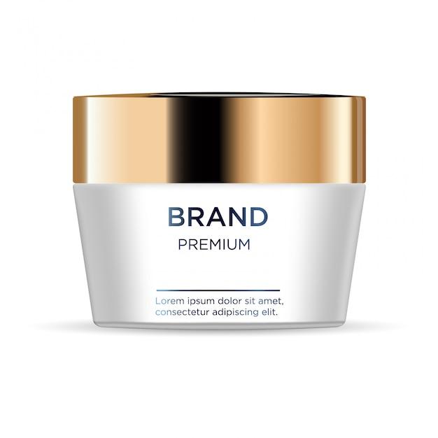 Vaso rotondo di plastica bianca con coperchio dorato per cosmetici Vettore Premium