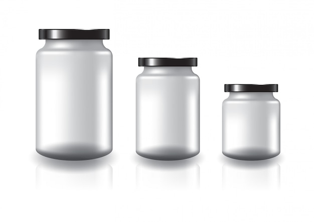 Vaso tondo trasparente bianco con coperchio piatto nero. Vettore Premium