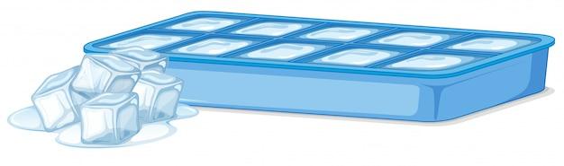 Vassoio di ghiaccio con ghiaccio e cubetti di ghiaccio di fusione su bianco Vettore gratuito