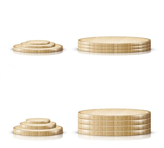 Vassoio per tagliere in legno, palco realistico sul podio Vettore gratuito