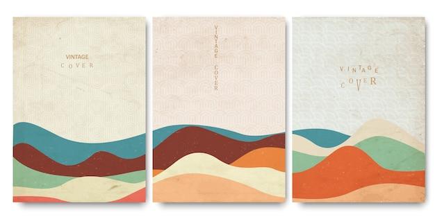 Vecchi documenti, modelli di copertine con motivi a onde giapponesi e forme geometriche curve disegnate a mano in stile orientale Vettore Premium