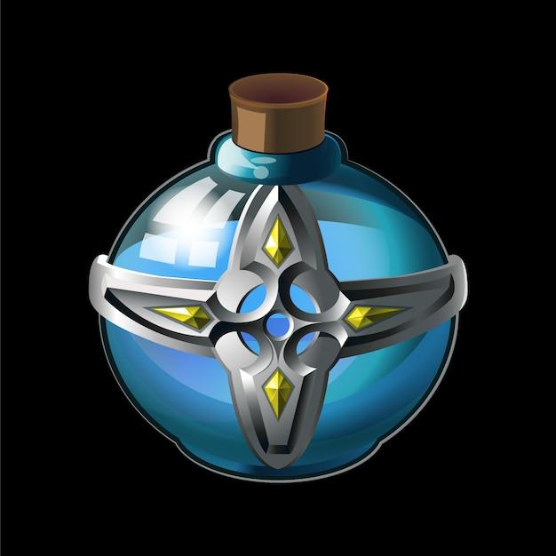 Vecchia bottiglia con croce in metallo e diamanti, magica acqua santa in vetro. Vettore Premium