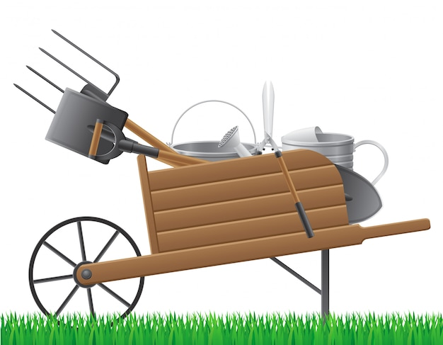 Vecchia carriola del giardino retrò in legno con strumento. Vettore Premium