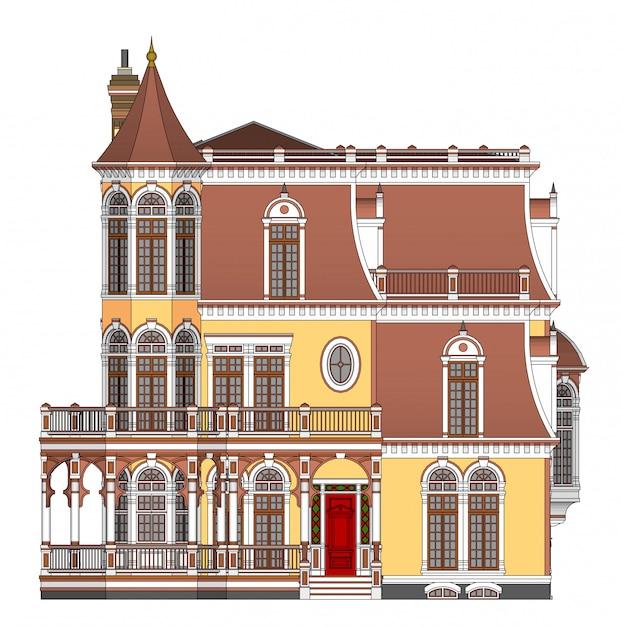 Vecchia casa in stile vittoriano illustrazione Vettore Premium