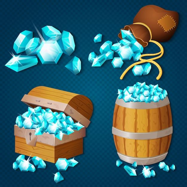 Vecchia cassa di legno, barile, vecchia borsa con gemme di diamanti. illustrazione del tesoro in stile gioco. Vettore Premium