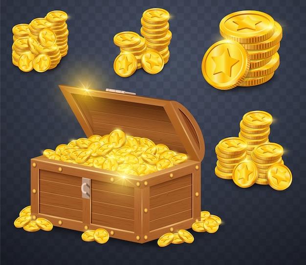 Vecchia cassa di legno con monete d'oro. Vettore Premium