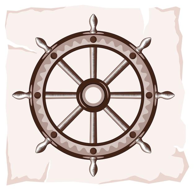 Vecchia icona della ruota della nave Vettore Premium