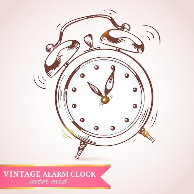 Vecchia illustrazione d'annata di vettore della carta della sveglia di schizzo di retro annata Vettore gratuito