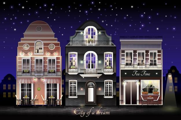 Vecchia illustrazione di case europee Vettore gratuito