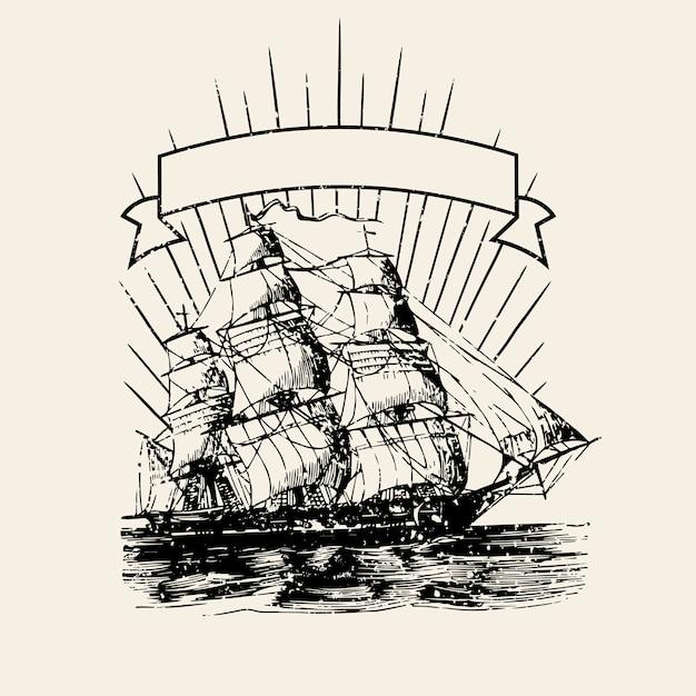 Vecchia illustrazione di marchio di nave Vettore gratuito