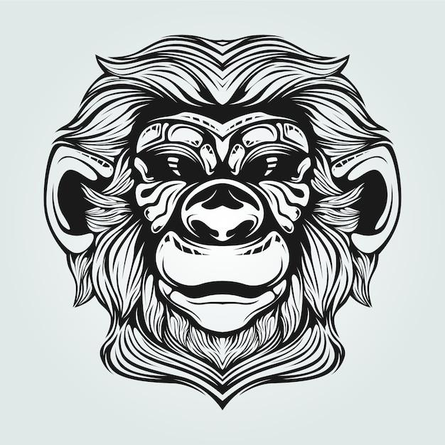 Vecchia linea arte scimmia con la faccia decorativa Vettore Premium