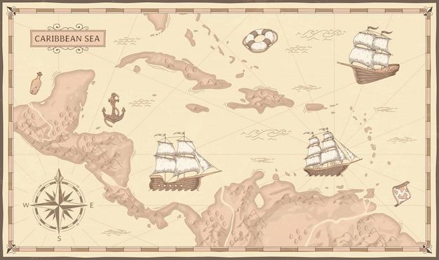 Vecchia mappa del mar dei caraibi. rotte antiche dei pirati, navi di pirati del mare di fantasia e illustrazione di mappe dei pirati d'epoca Vettore Premium