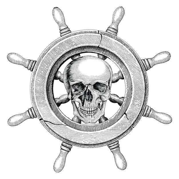 Vecchia nave volante disegno a mano stile vintage con teschio umano, logo pirata Vettore Premium