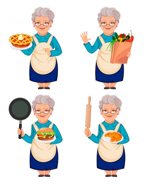 Vecchia nonna donna carina, set di quattro pose Vettore Premium