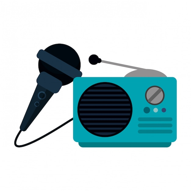 Vecchia radio stereo e microfono Vettore Premium