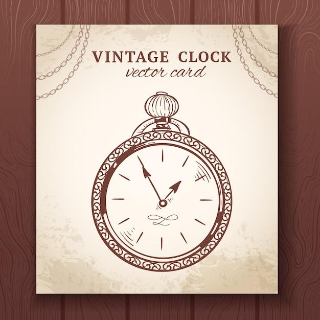 Vecchia retro illustrazione d'annata di vettore della carta di carta dell'orologio da tasca di schizzo Vettore gratuito