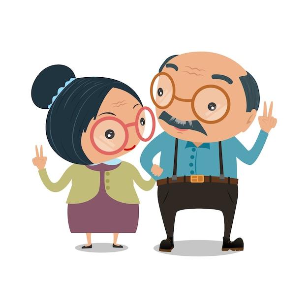 Vecchie coppie uomo e donna senior Vettore Premium